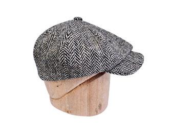 """Newsboy Cap in Vintage Harris Tweed Herringbone - Ready to Ship - Size 23"""" or 7 3/8"""