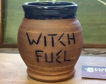 Witch Fuel Mug - Funny Office Gift - Phrase Mug - Silly Coffee Cup - Handmade Ceramic - Coffee Tea -  Work holiday Gift