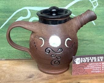 Tea Pot - Rustic Moon Design - Handmade teapot - Tea Lovers Gift - Rustic pottery - Celestial Gift - Mother's Day