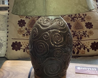 Carved Spiral Lamp - Rustic Handmade Pottery Lamp