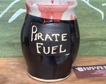 Pirate Fuel Large Mug - 28 oz Capacity - Bloody Good Gift - Stoneware Coffe or Tea mug - Office Gift - Father's Day - Whimsical Coffee Cup