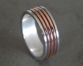 STEAMPUNK Silver & Copper // Men's Wedding Ring // Women's Wedding Ring // Men's Wedding Band // Women's Wedding Band // Unique Band