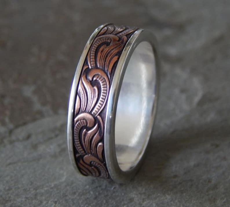 PAISLEY Silver & Copper // Mens Wedding Band // Womens Wedding image 0