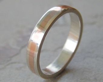 4 mm Silver & Copper // Men's Wedding Ring // Women's Wedding Ring // Men's Wedding Band // Women's Wedding Band // Unique Band