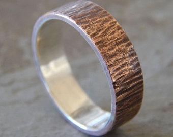 WOODGRAIN Silver and Copper // 4-8 mm // Men's Wedding Ring // Women's Wedding Ring // Men's Wedding Band // Women's Wedding Band // Unique