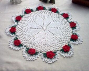Romantic Red Rose Crochet Lace Thread Art Doily New Handmade