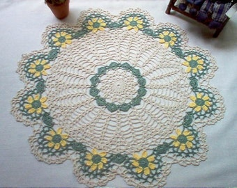 Yellow Daisies Crochet Lace Thread Art Doily New Handmade