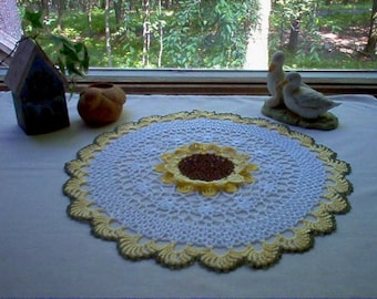 Sunflower Crochet Lace Thread Art  Doily New Handmade