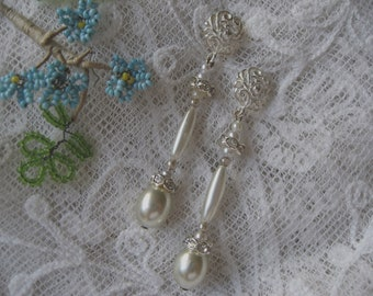 Antique Pearl and Faux Diamante Wedding Earrings