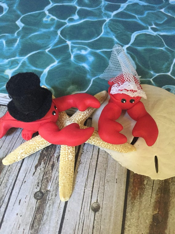 Lobster Wedding Couple Cake Topper Mini Marble Friends Set of Two in Red Bride and Groom