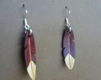 Purple Heart Wooden Earrings  Minimalist Earrings  Exotic Wood Earrings