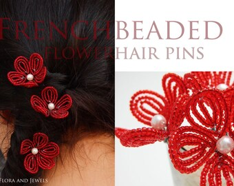 TUTORIAL - French beaded flower hair pin tutorial