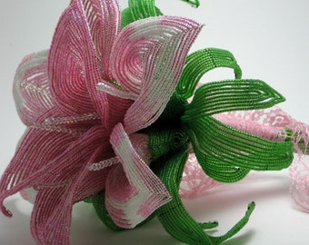 May Flowers - French beaded  calla lily bridal bouquet-- member of the artisan group