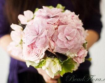 French beaded roses -bridal, French Vintage Romance, set of 3