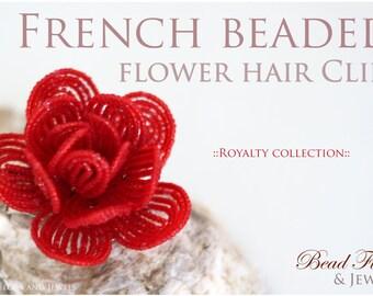 TUTORIAL - French beaded flower hair clip tutorial