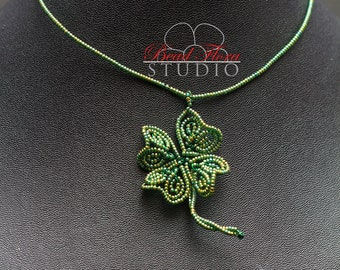 PDF - French beaded lucky clover / shamrock projects: ring, pendant, earrings, brooch, hair pin