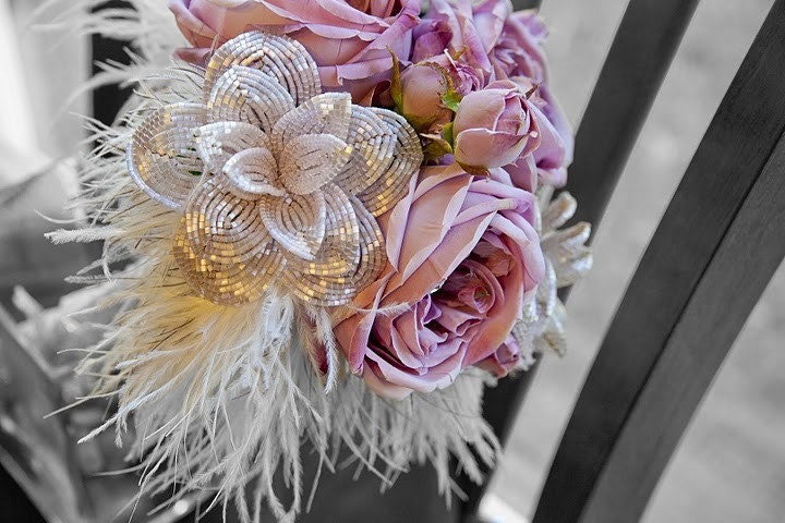 Sweetheart Pink Rose Bridal Bouquet French Beaded Flower