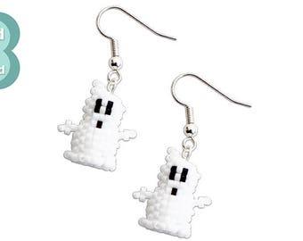Bead Pattern: Mini 3D Beaded Halloween Ghost Earrings Pattern