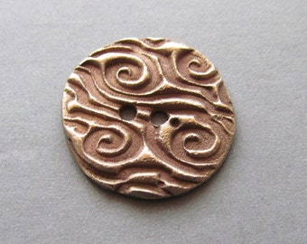 Swirling Waves Artisan made Bronze Button