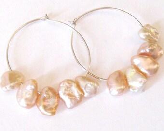 Keshi Pearl Hoops in Sterling Silver, Natural Peach Freshwater Pearl Earrings, One of a Kind June Birthstone