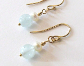 Aquamarine Gemstone and Pearl Goldfilled Earrings, Ear Wire Options, March Birthstone