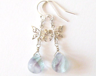 Rainbow Fluorite Sterling Silver Butterfly Earrings, Pastel Green and Lavender Gemstones, 925 Ear Wire Options