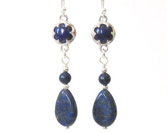 Lapis Lazuli Dangle Earrings, Blue Gemstone Teardrops, Sterling Silver Ear Wire Options, September Birthstone, 9th Anniversary Gift