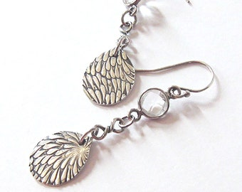 Silver Feather Whimsical Earrings, Eco Friendly 999FS Teardrops with Clear Quartz Gemstone, 925 Sterling Ear Wire Options