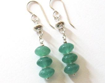 Green Aventurine Gemstone Linear Earrings in Sterling Silver with 925 Ear Wire Options, Mint Green Stones