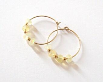 Ethiopian Opal Gemstone Gold Filled Small Hoop Earrings, Welo Opal Hoops, October Birthstone