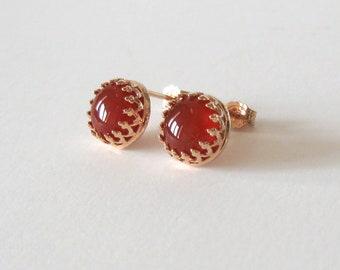 Red Carnelian Filigree Studs, Rose Gold Vermeil 925 Sterling Silver Post Earrings, Red Orange 8mm Gemstone Cabochons
