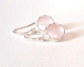 Rose Quartz Sterling Silver Flower and Leaf Drop Earrings, 8mm Pink Gemstone Cabochons, 925 Ear Wire Options