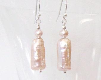 Blush Pink Biwa Stick Pearl Earrings, Pale Peach Freshwater Modern Pearl Earrings, 925 Sterling Silver Ear Wire Options