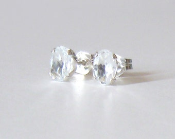 White Topaz Gemstone Studs, Oval 6x4mm Faceted Clear Stones, Sterling Silver Post Earrings