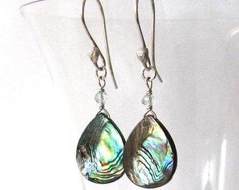 Iridescent Earrings, Abalone Shell Teardrops with Green Amethyst Prasiolite Gemstones, Artisan Hooks, Sterling Silver Ear Wire Options