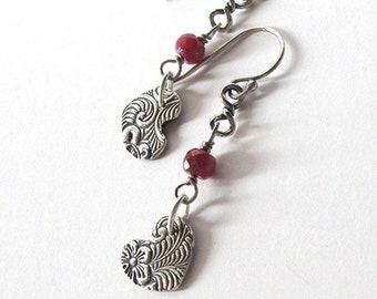 Hearts Fine Silver Ruby Gemstone Earrings, Romantic Gift,  Ear Wire  Options