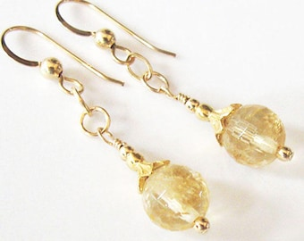 Citrine Earrings, Golden Yellow Honeycomb Facets, Citrine Gemstone Beads, Gold Filled Earrings, Flower Bud Bead Caps, Ear Wire Options