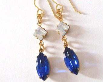 Sapphire Blue Art Glass Dangle Earrings, Vintage Ribbed Glass Stones and Opal Glass, Gift for Women, Ear Wire Options,
