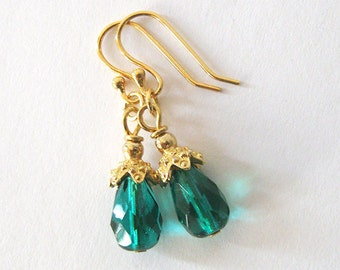 Emerald Green Teardrop Earrings, Upcycled Vintage Glass Beads, Eco Friendly Jewelry