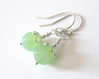 Green Chalcedony Gemstone Earrings, Sterling Silver Flower, Ear Wire Options, Petite Earrings, Pastel Green, Key Lime, Mothers Day Gift