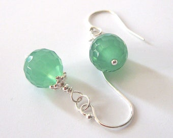 Mint Green Glass Bead Earrings, Sterling Silver, Faceted Honeycomb Glass, One of a Kind, Ear Wire Options