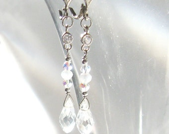 Cz and Crystal Long Earrings, Ice Briolettes, Iridescent Aurora Borealis Crystals Sterling Silver