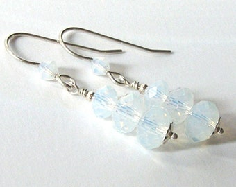 Opalite Earrings, Sterling Silver Dangle, Opal Glass Faceted Crystal, Translucent White with Blue