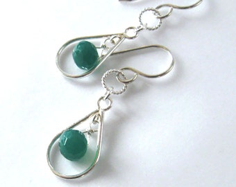 Emerald Green Onyx Gemstone Earrings Sterling Silver Open Tear Drop, Ear Wire Options, St. Patrick's Day, Holiday Earrings for All Seasons