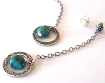 Turquoise Gemstone Earrings Hammered Silver Circles Oxidized Sterling Silver Ear Wire Options
