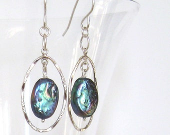 Blue Rainbow Baroque Pearl Oval Hoop Earrings, Sterling Silver Ear Wire Options, June Birthstone