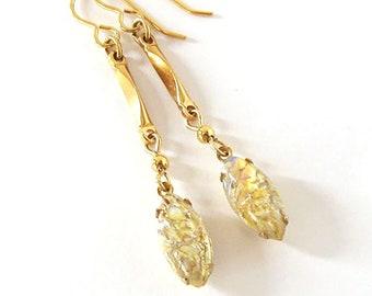 Golden Harlequin Opal Glass Long Earrings, Vintage Art Glass Navette Stones, October Birthstone