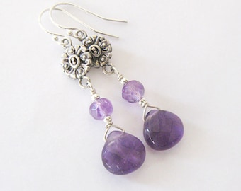 Amethyst Gemstone Dangle Earrings, Sterling Silver, Renaissance Antique Style, Victorian Style, Ear Wire Options