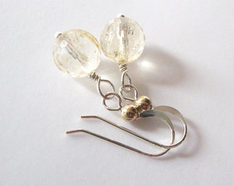 Citrine Gemstone Earrings, Light Champagne Color, Mixed Metal Earrings, Sterling Hooks Gold Bead Detail, Ear Wire Options