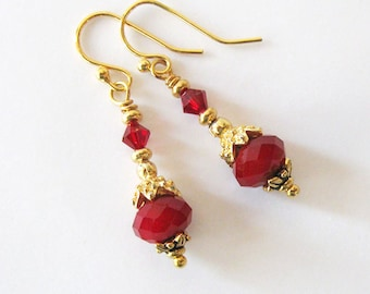 Ruby Red Crystal Earrings with Upcycled Vintage Gold Bead Caps, Repurposed Vintage Component, Ear Wire Options